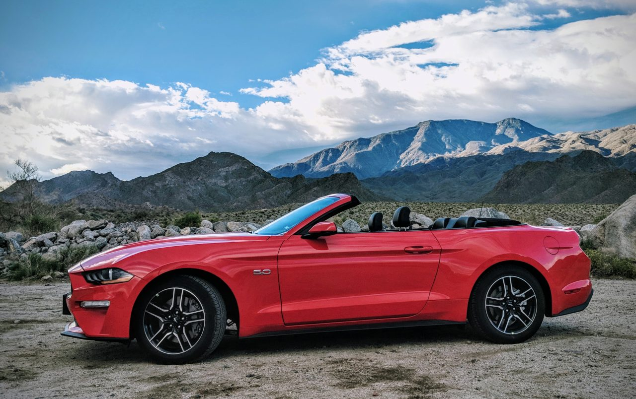 2019 ford mustang gt premium convertible in red with top down